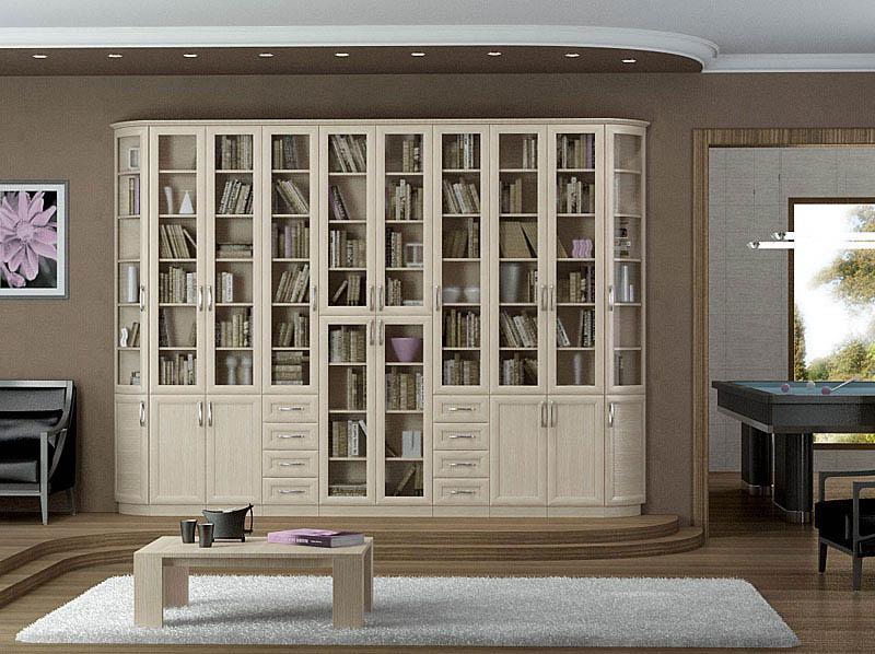 """Книжный шкаф с радиусными фасадами компания """"эй-джи мебель""""."""