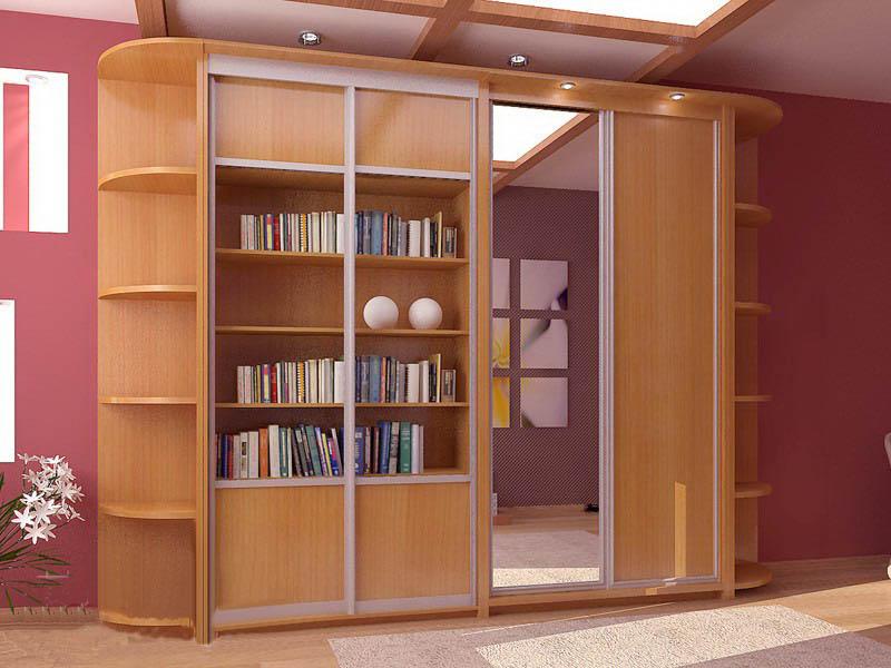 """Книжный шкаф с дверями-купе компания """"эй-джи мебель""""."""