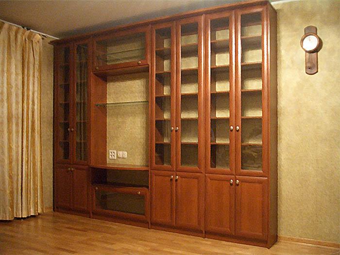 Шкаф встроенно-корпусной с распашными фасадами библиотека.